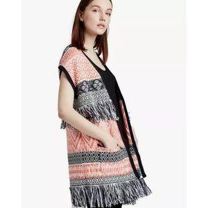 NWT Lucky Brand Fringe Jacquard Sweater Vest